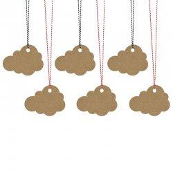 6 Etiquetas con Cuerda Forma Nube