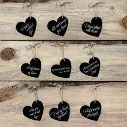 10 Etiquetas forma Corazón con Cuerda