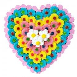 Tarta de Chucherías Corazón Flores 600 grs