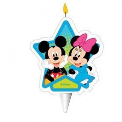 12 Velas Del Mickey Mouse & Minnie Mouse 2D